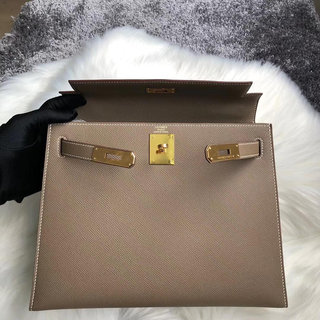 新北市瑞芳區 愛馬仕凱莉包價格 Hermes Kelly 28cm CC18 Etoupe 大象灰