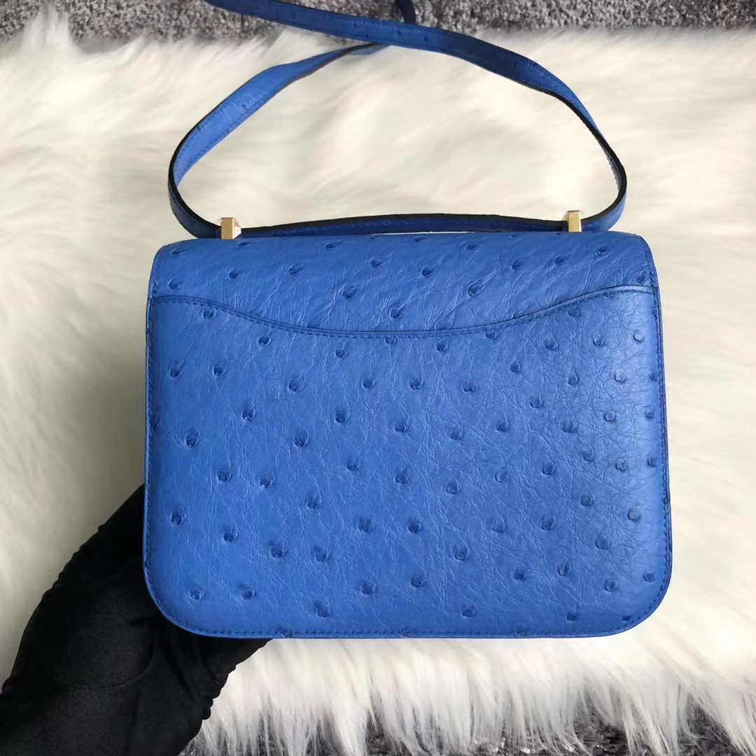 臺灣新北市新莊區 Hermes Constance 19cm 7Q希臘藍 Blue Mykonos Ostrich