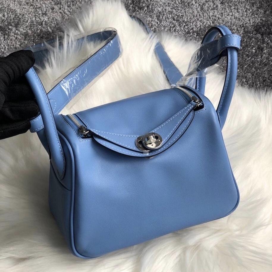 Taiwan Hermes lindy mini swift leather 2T Blue Paradis 天堂蓝