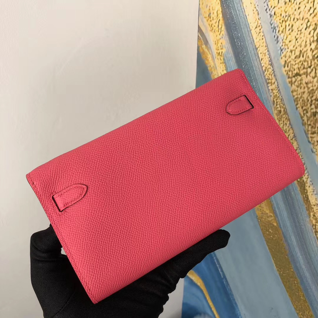 Taiwan Hermes Kelly Classique To Go wallet 8W Rose Azalée 新唇膏粉