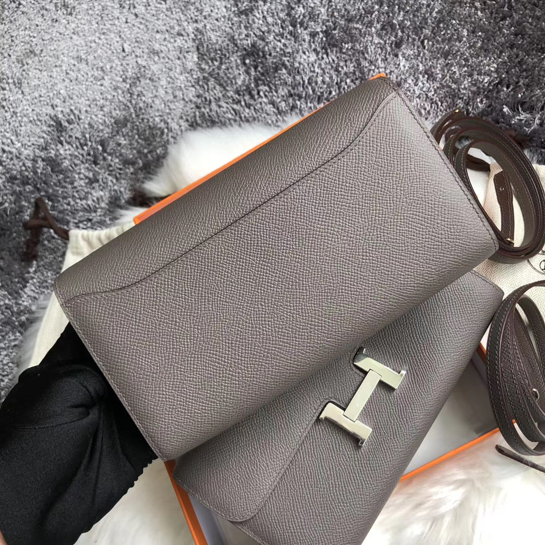 Taiwan Hermes Constance long wallet to go Epsom 8F Etain 錫器灰