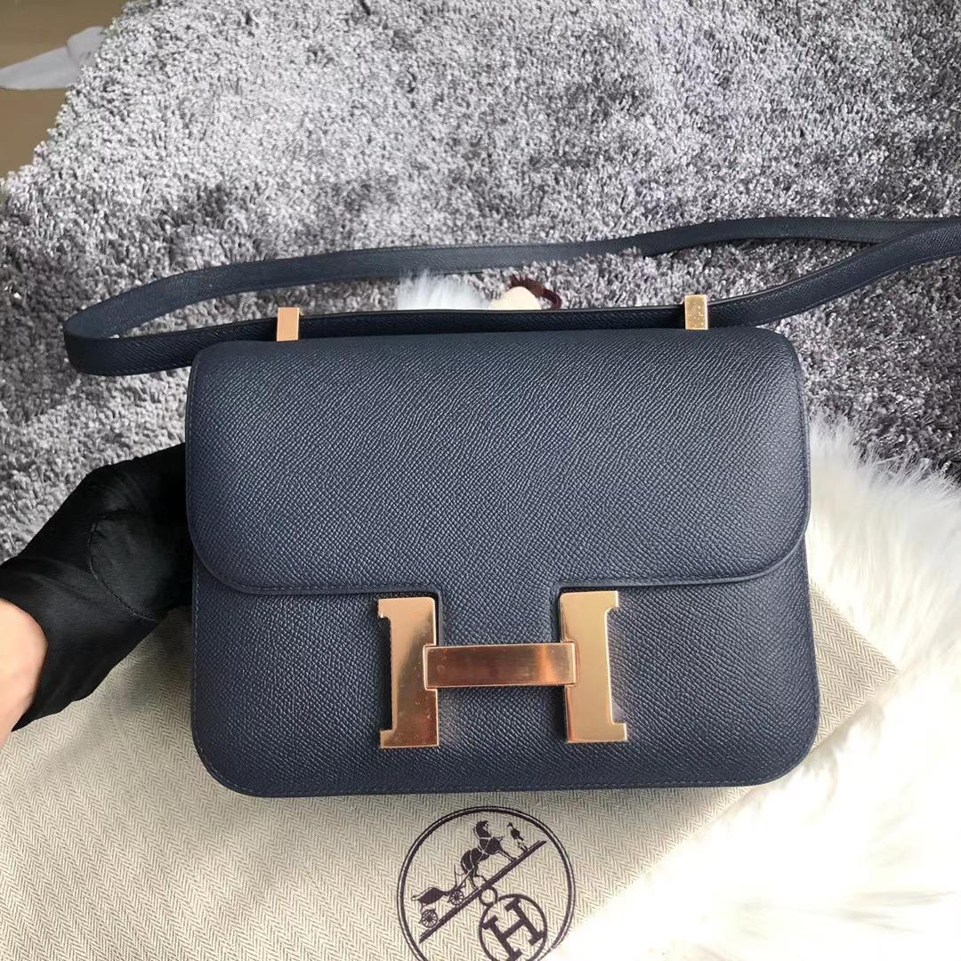 Taiwan Hermes Constance 24cm Epsom 76 Blue Indigo 深海藍 玫瑰金扣