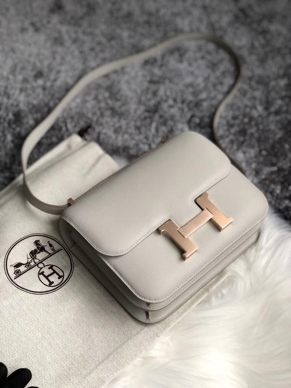 Hong Kong Hermes Constance 19cm Evercolor 80 grey pearl 珍珠灰 rose gold