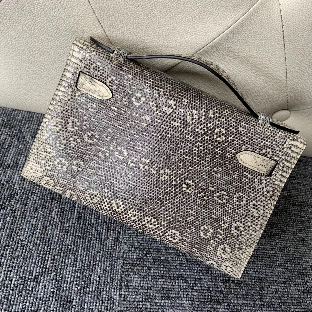 臺灣桃園市桃園區 Hermes Mini Kelly Pochette Lizard 01自然色 雪花色蜥蜴皮