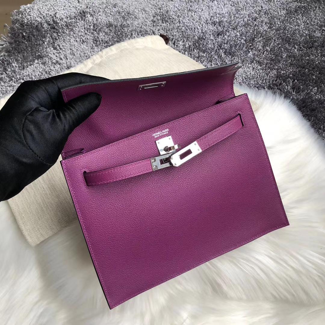 臺灣臺中市愛馬仕跳舞包多少錢 Hermes Kelly Danse Evercolor P9 Anemone 海葵紫