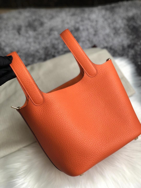 臺灣臺北市中正區 Hermes Picotin Lock 18 CC93 Orange 橙色 taurillon Clemence