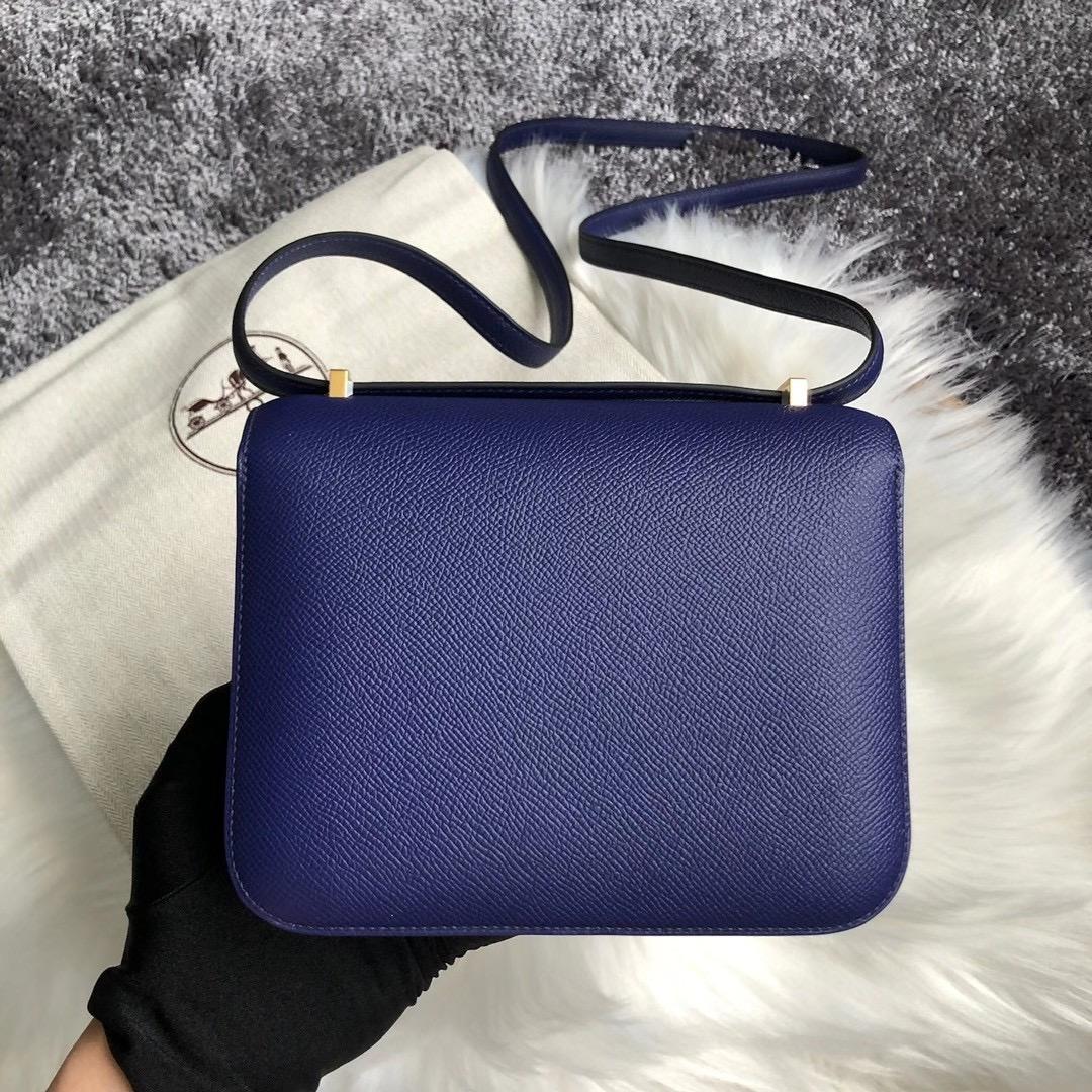 桃園市桃園區 愛馬仕康康包價格 Hermes Constance 18cm M3 Blue Encre 墨水藍