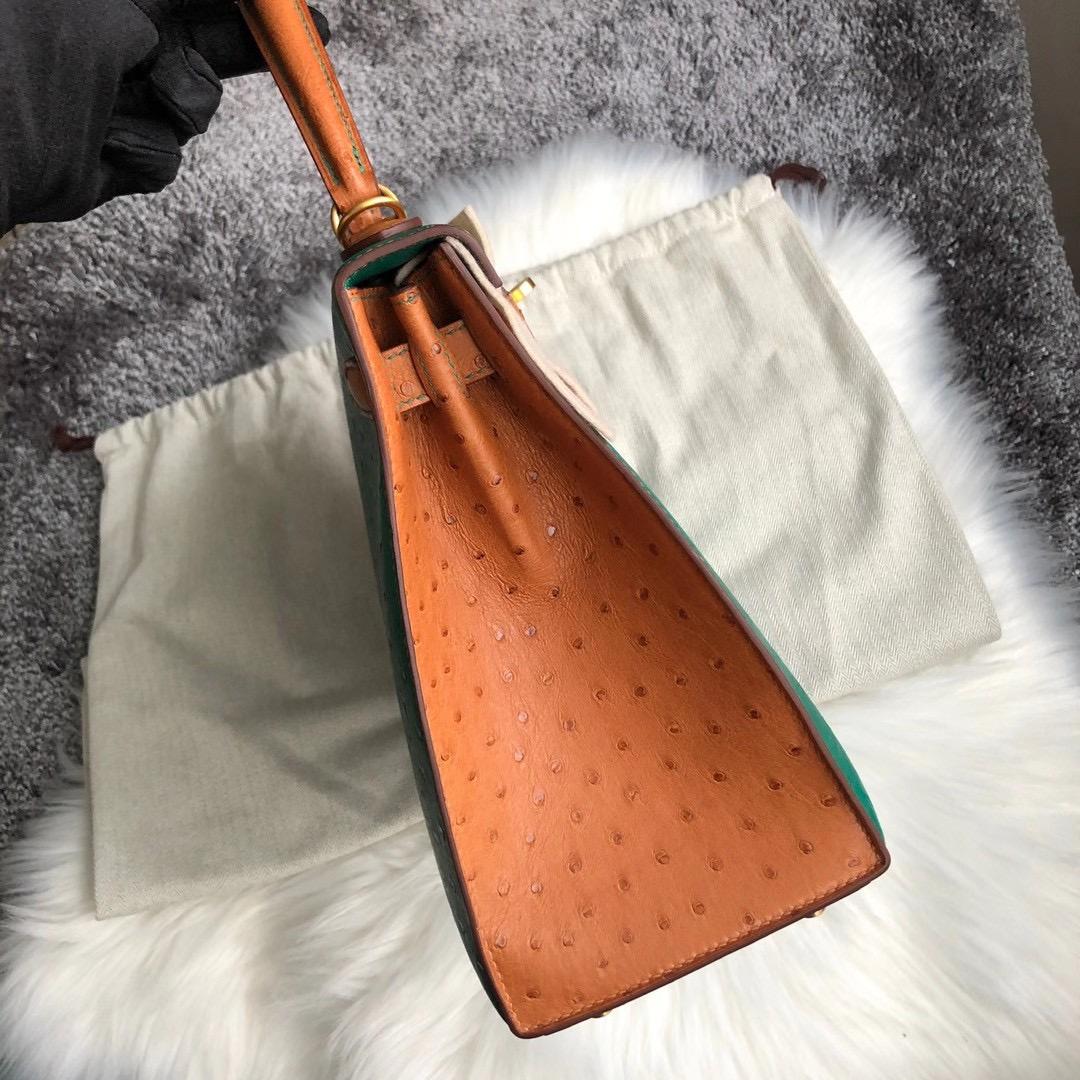 香港中西區西環愛馬仕鴕鳥皮凱莉包 Hermes Kelly28cm Ostrich U4絲絨綠 37金棕色