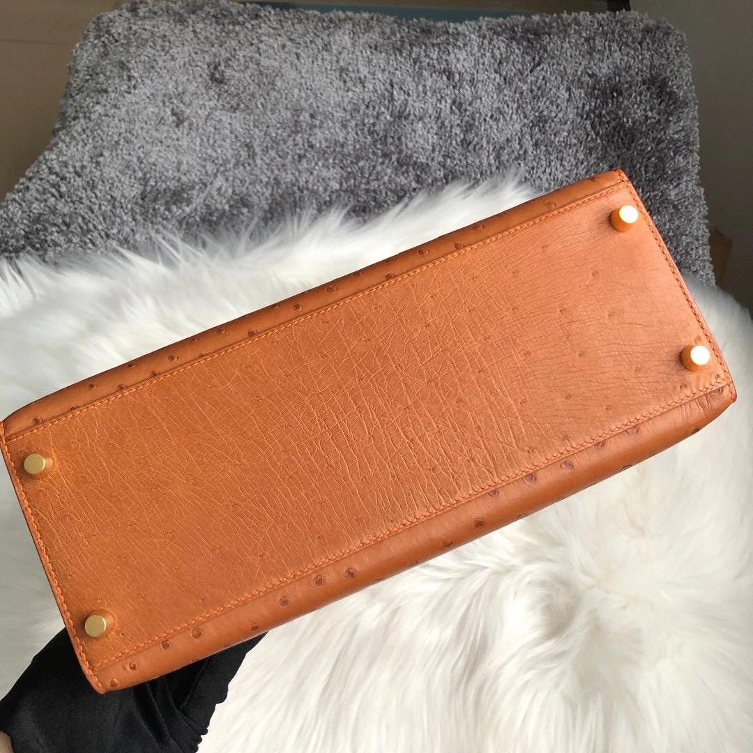 香港中西區堅尼地城愛馬仕鴕鳥皮凱莉包 Hermes Kelly 28cm Ostrich 37金棕色 CK93橙色
