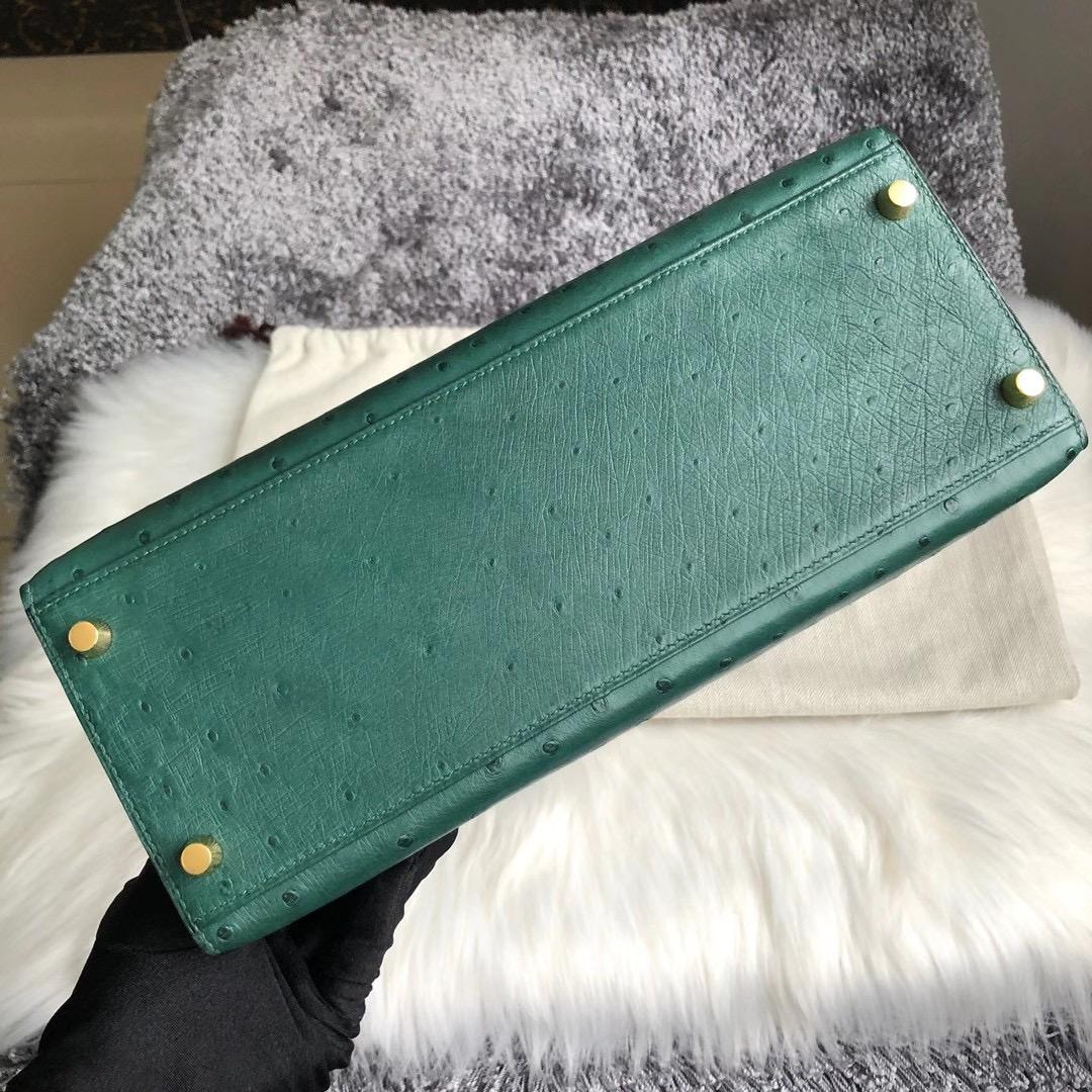 Hermes Kelly 28cm HSS Ostrich 67 Vert Fonce 祖母綠 37 gold 金棕色 拉絲金扣