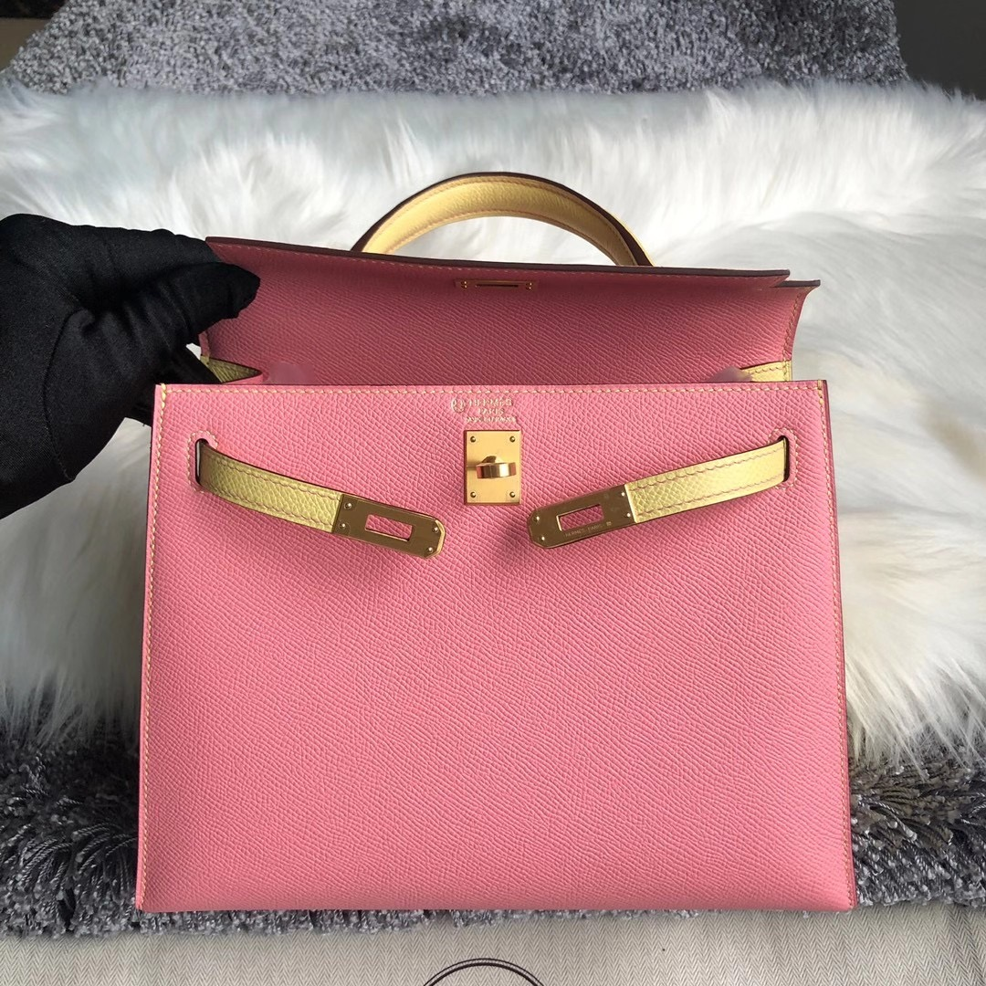 Hong Kong Hermes Kelly 25cm HSS 1Q奶昔粉 rose confetti 1Z小雞黃 jaune poussin