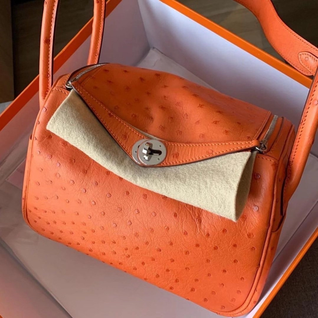 臺灣高雄市阿蓮區 Hermes Lindy 26cm Ostrich CK93 Orange Phw