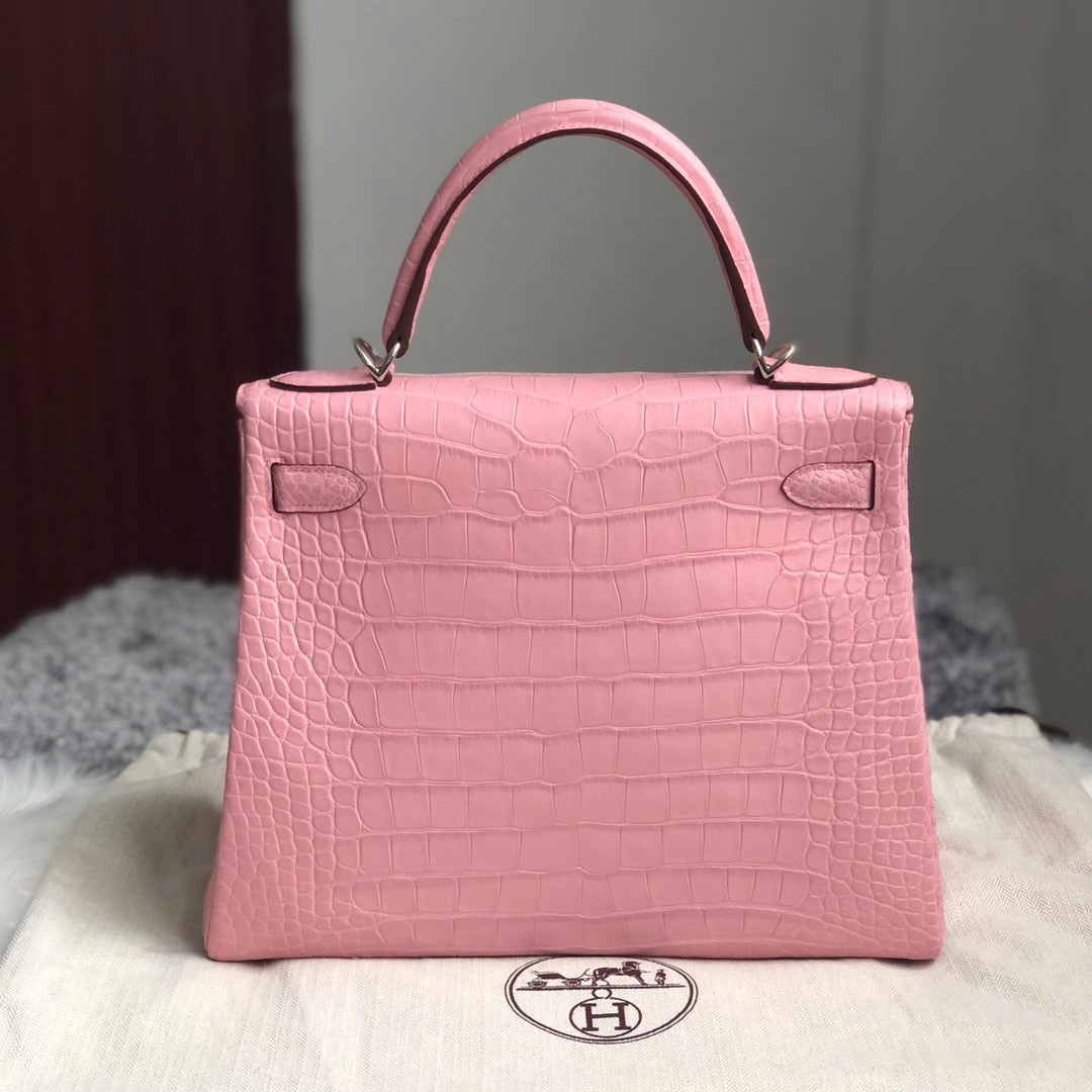 Hermes Kelly 28cm 美洲鱷 Matte Alligator Crocodile 5P bubblegum pink 櫻花粉