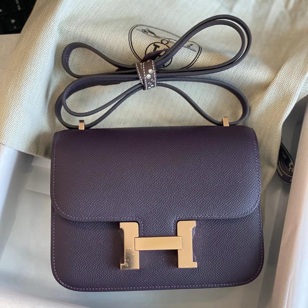 臺灣臺中市大安區 愛馬仕包包 Hermes Constance 19cm 59 葡萄紫 Raisin