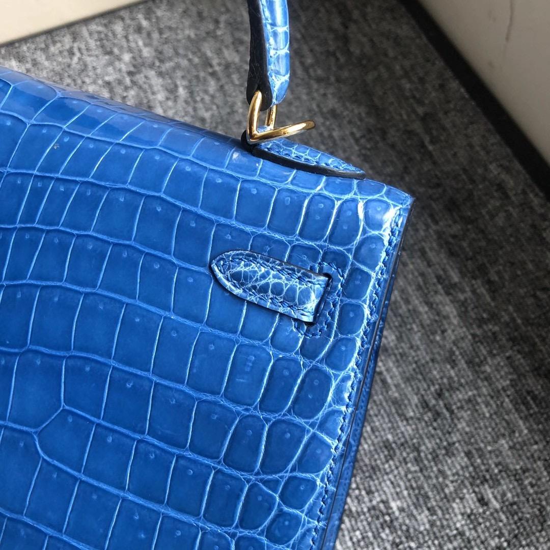 Macao Hermes Kelly 25cm 7Q Blue Mykonos 亮面倒V 澳洲灣鱷 Shiny Porosus Crocodile