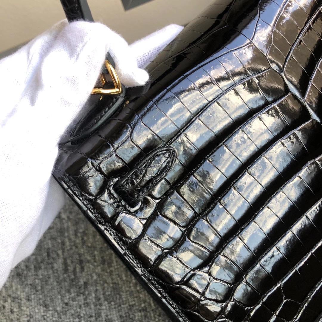 Macao Hermes Kelly 25cm 亮面 兩點 尼羅鱷魚 Shiny Nilo Crocodile 黑色