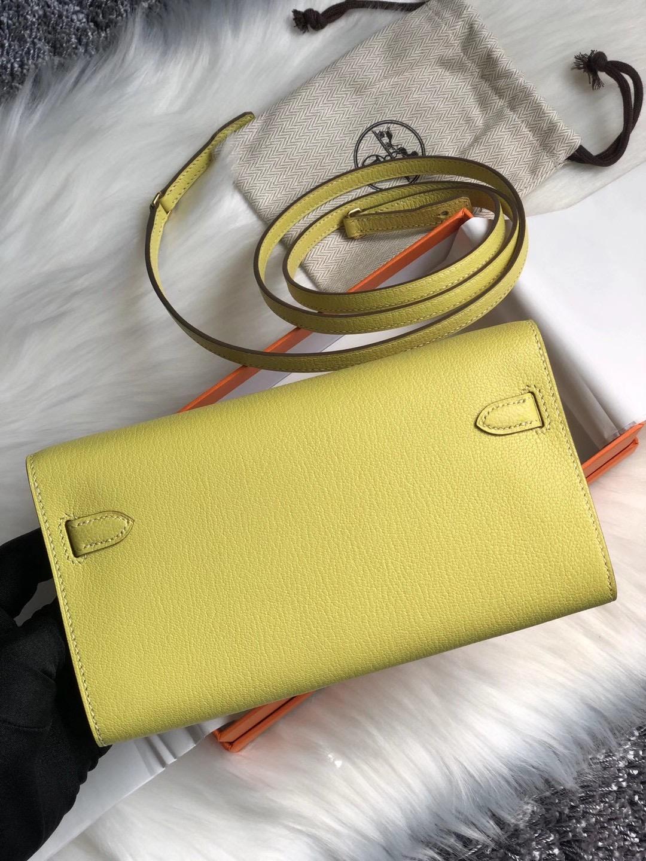 高雄市阿蓮區 愛馬仕 Hermes Kelly Classique To Go wallet Chevre 9R Lime 檸檬黃