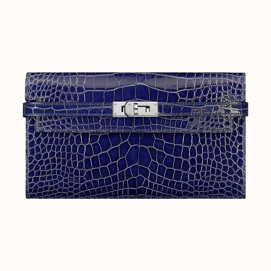Hermes Kelly Classique M3 Bleu Encre alligatore Mississippiensis liscio