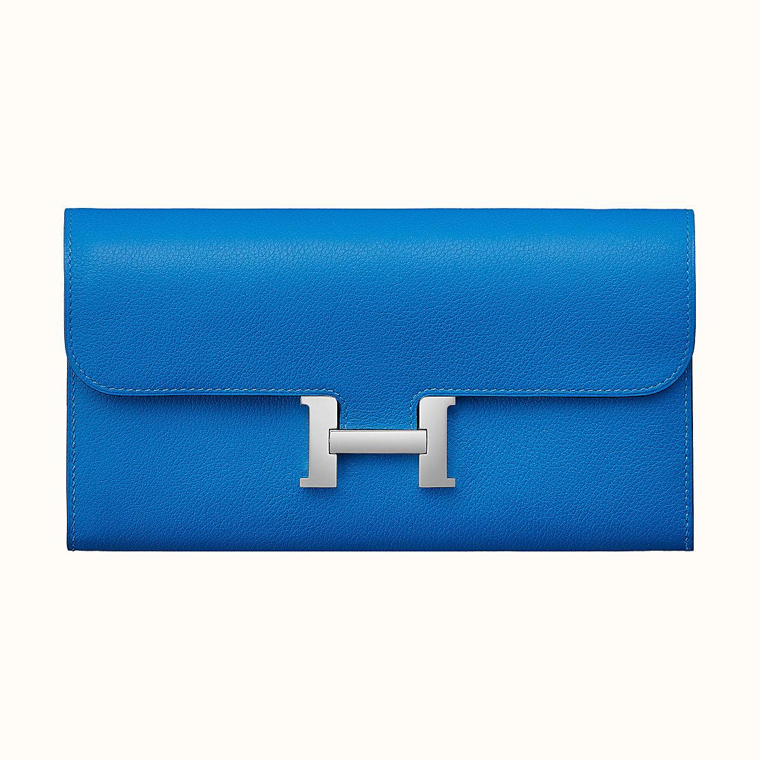 Hong Kong Hermes Portafoglio Constance Long Evercolor T7 Bleu Hydra