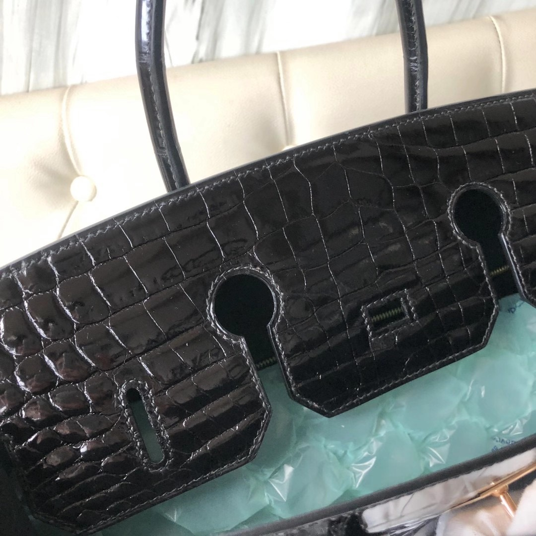 香港油尖旺區柯士甸 Hermes Birkin 35cm Shiny nilo crocodile CD89 Noir 玫瑰金