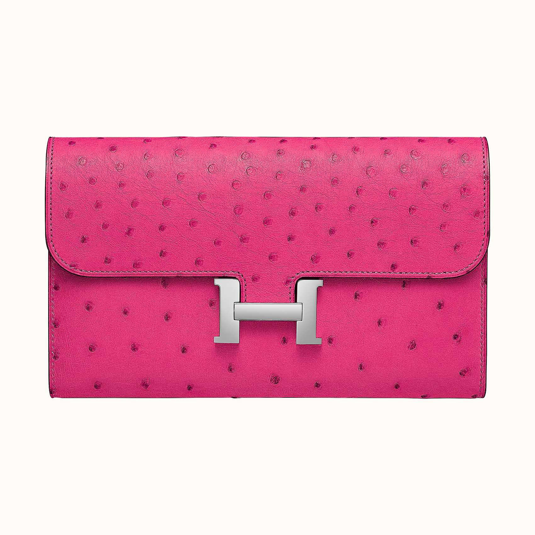 Hong Kong Hermes Portefeuille Constance Long Ostrich CKE5 Rose Tyrien