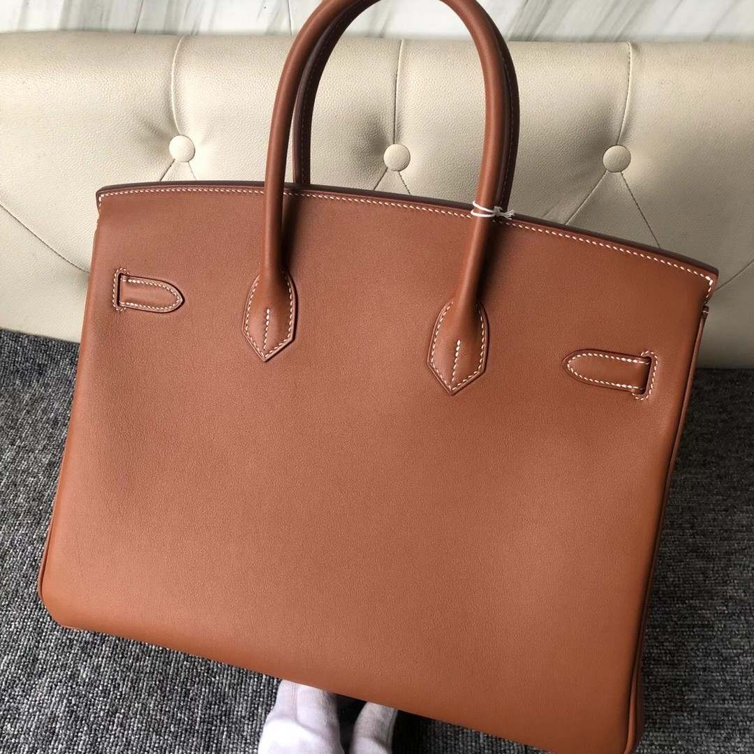 Hong Kong Hermes Handbag Birkin 35cm Swift CK37 Gold 金棕色