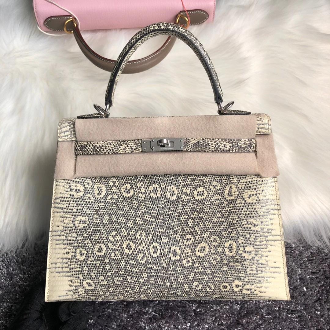 Hong Kong Hermes Handbag Kelly 25cm Lizard 01雪花色蜥蜴皮