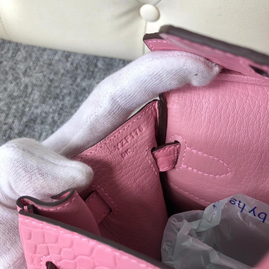 愛馬仕 2020年工匠號 Y刻 Hermes Birkin 25cm 霧面美洲鱷 5P bubblegum pink 櫻花粉