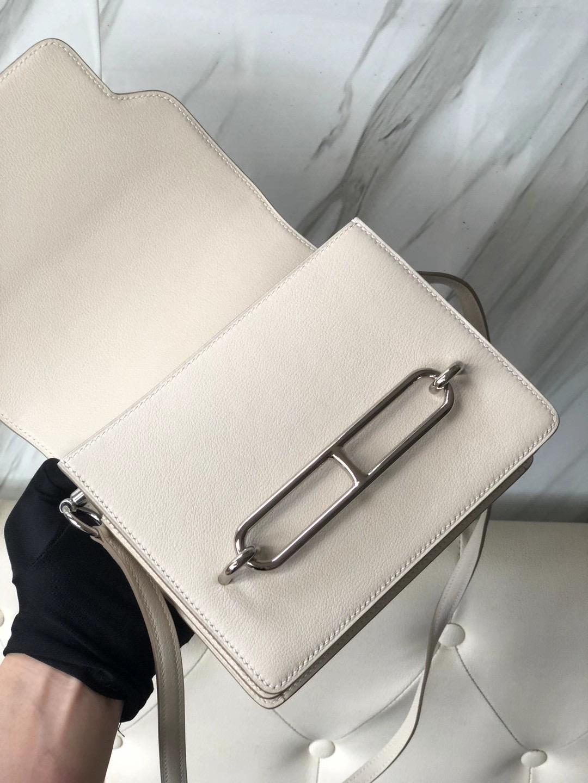 爱马仕猪鼻子包包价格 Taiwan Hermes Roulis 18cm Evercolor 10 Craie 奶昔白