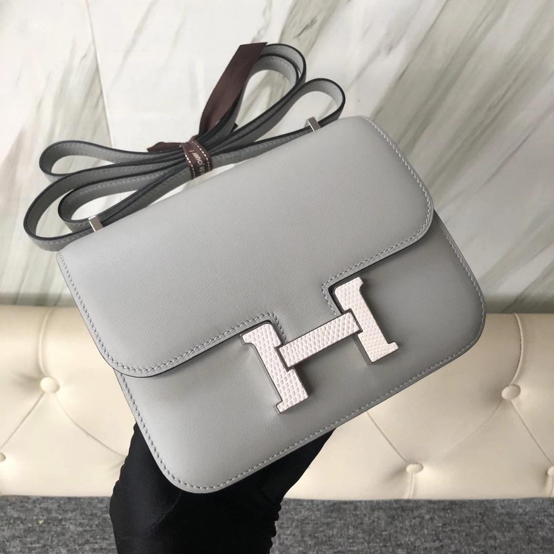 Taiwan Hermes Constance 19cm Swift 4Z Girls Mouette 海鷗灰 拼蜥蜴扣