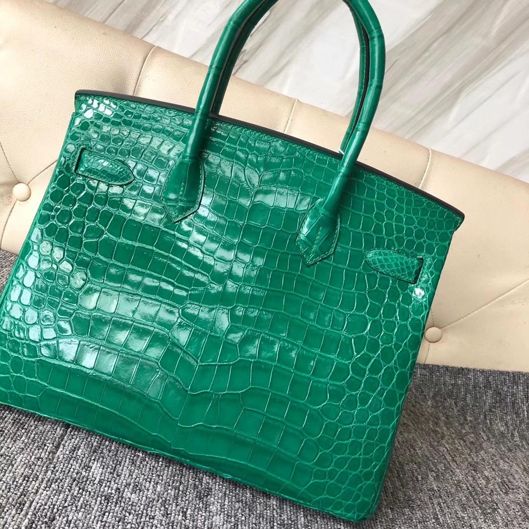 Taiwan Hermes Birkin 30cm 6Q Vert emeraude 翡翠綠 亮面倒V澳洲灣鱷