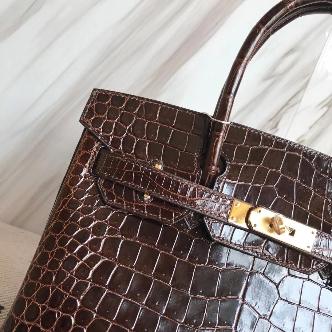 Taiwan Hermes Birkin 30cm Shiny Pochette Crocodile 47 chocolate 巧克力色