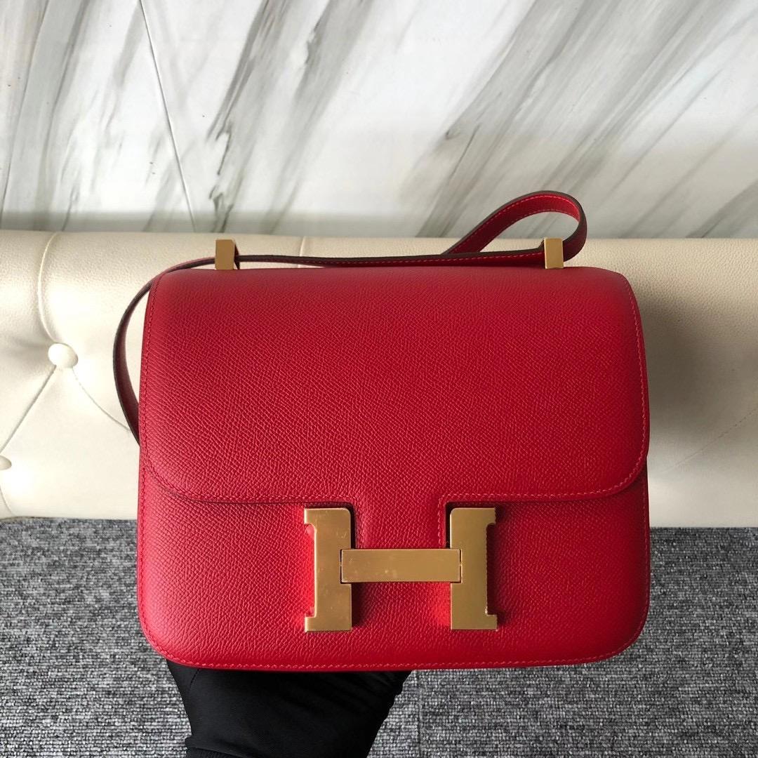 臺灣新北市石門區 Taiwan Hermes Constance 24cm Epsom Q5 Rose casaque 國旗紅