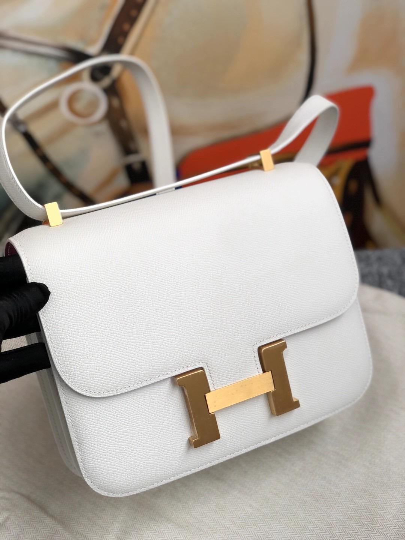 Taiwan Hermes Constance 24cm Epsom 01 Pure white 純白色 內拼 L3 Rose Poupre