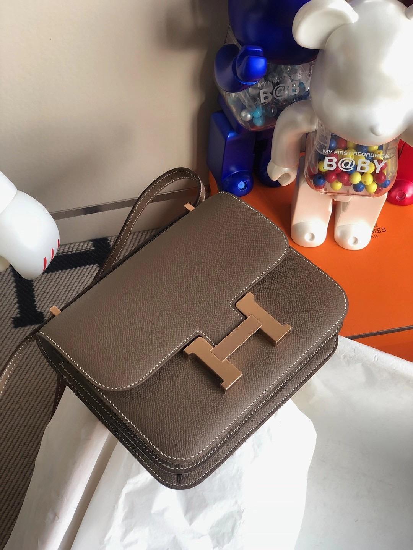 Hong Kong Hermes Mini Constance 19cm Epsom CD18 Etoupe 大象灰