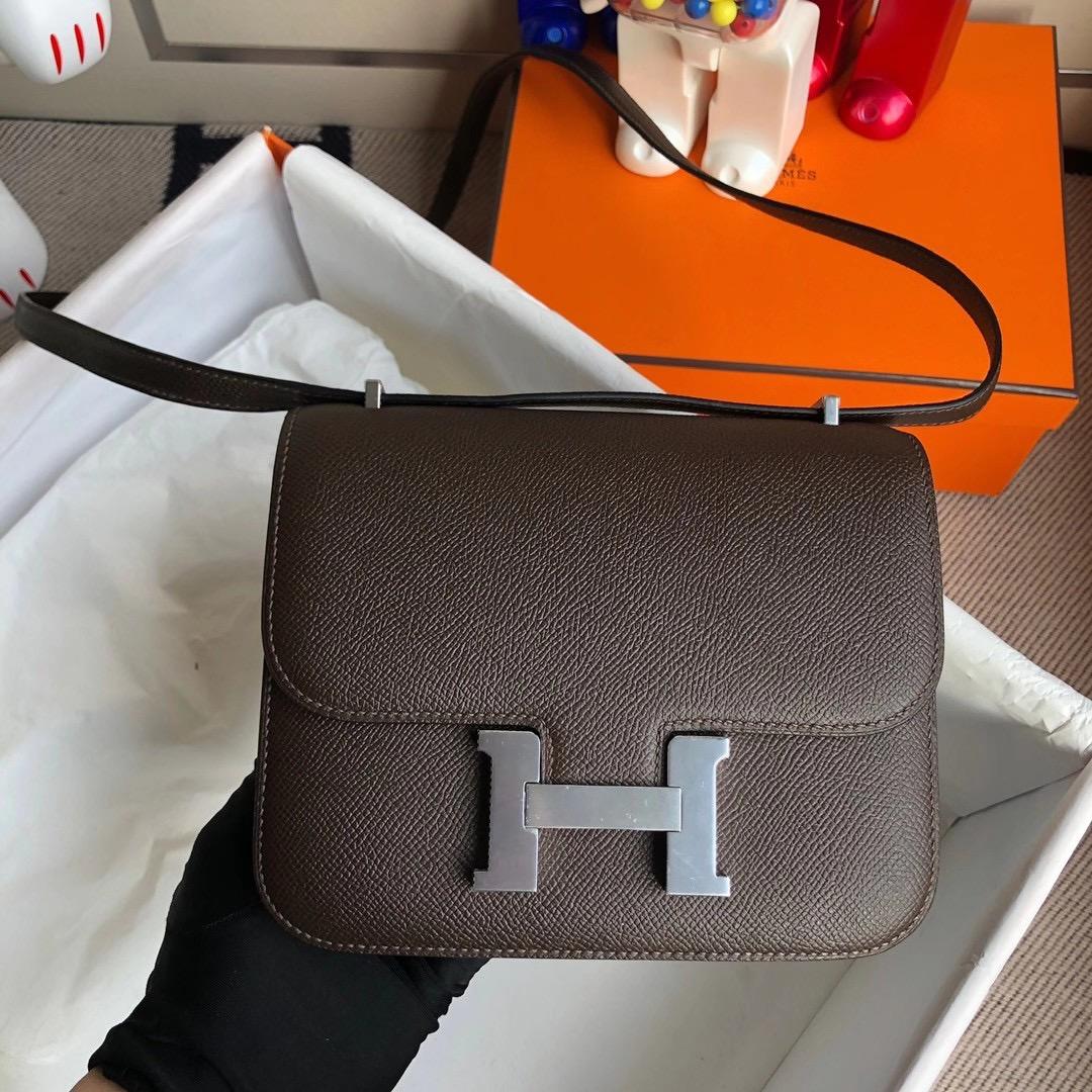 Hong Kong Hermes Mini Constance 19cm Epsom 47 chocolate 巧克力色 銀扣