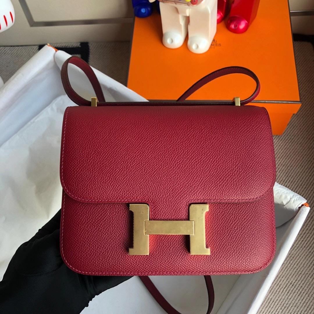Hong Kong Hermes Mini Constance 19cm Epsom K1 Rouge Grenat 石榴紅 金扣
