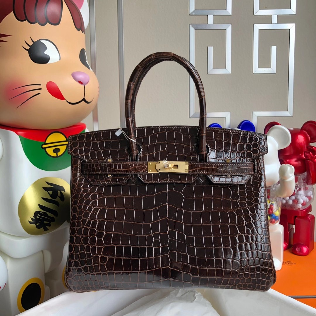 Hong Kong Hermes Birkin 30cm 47 chocolate 巧克力色 亮面倒V 澳洲灣鱷