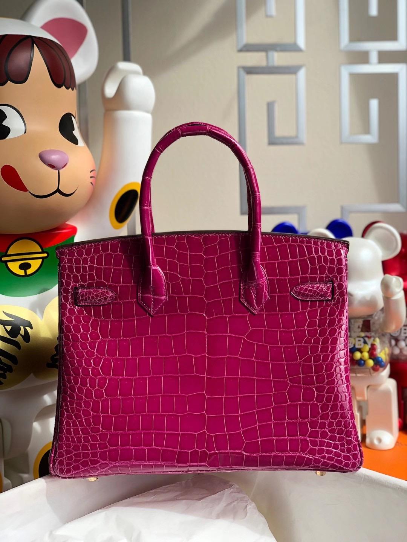 Hong Kong Hermes Birkin 30cm J5 Rose Sheheraradez 天方夜譚粉紫 亮面倒V 澳洲灣鱷