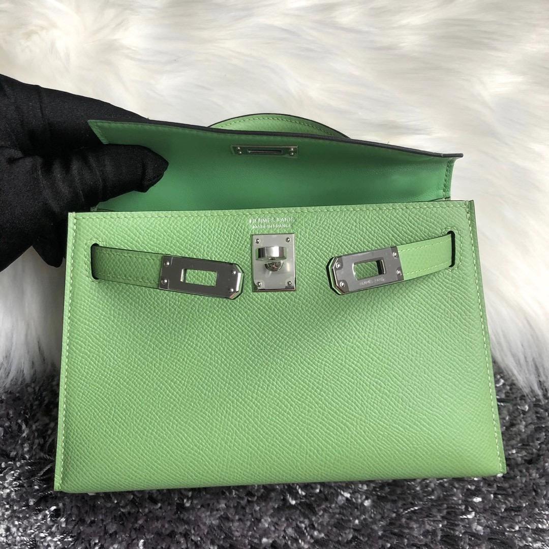 臺灣 新竹市 愛馬仕迷你凱莉二代 Hermes kelly mini II Epsom 3I 牛油果綠 Vert Criquet