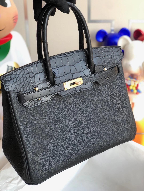 Hong Kong Hermes Birkin 25cm Touch Togo 拼 霧面美洲鱷魚 89 Noir 黑色