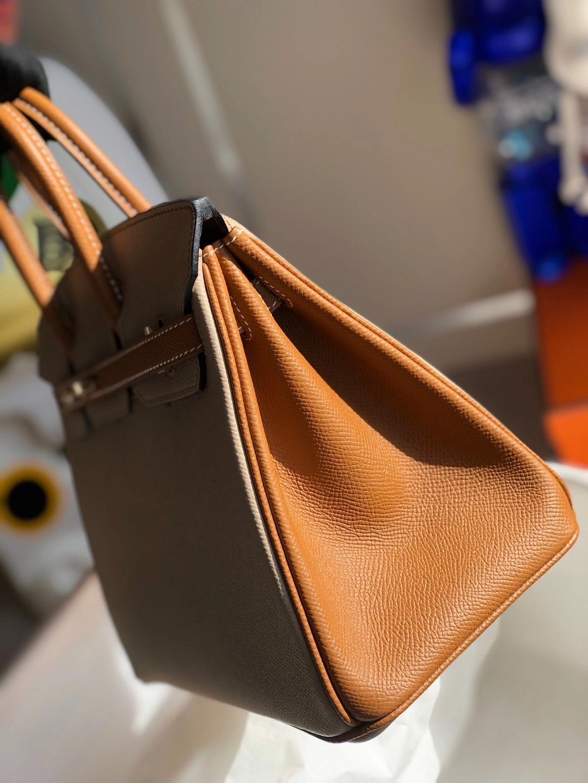 Hermes Birkin 25cm Hss Epsom S2 Trench 風衣灰 拼色 37 gold 金棕色