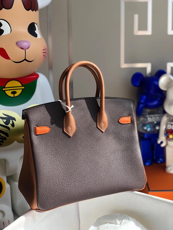 Hermes Birkin 25cm Hss Togo 47 chocolate 巧克力色 拼 37 gold 93 Orange