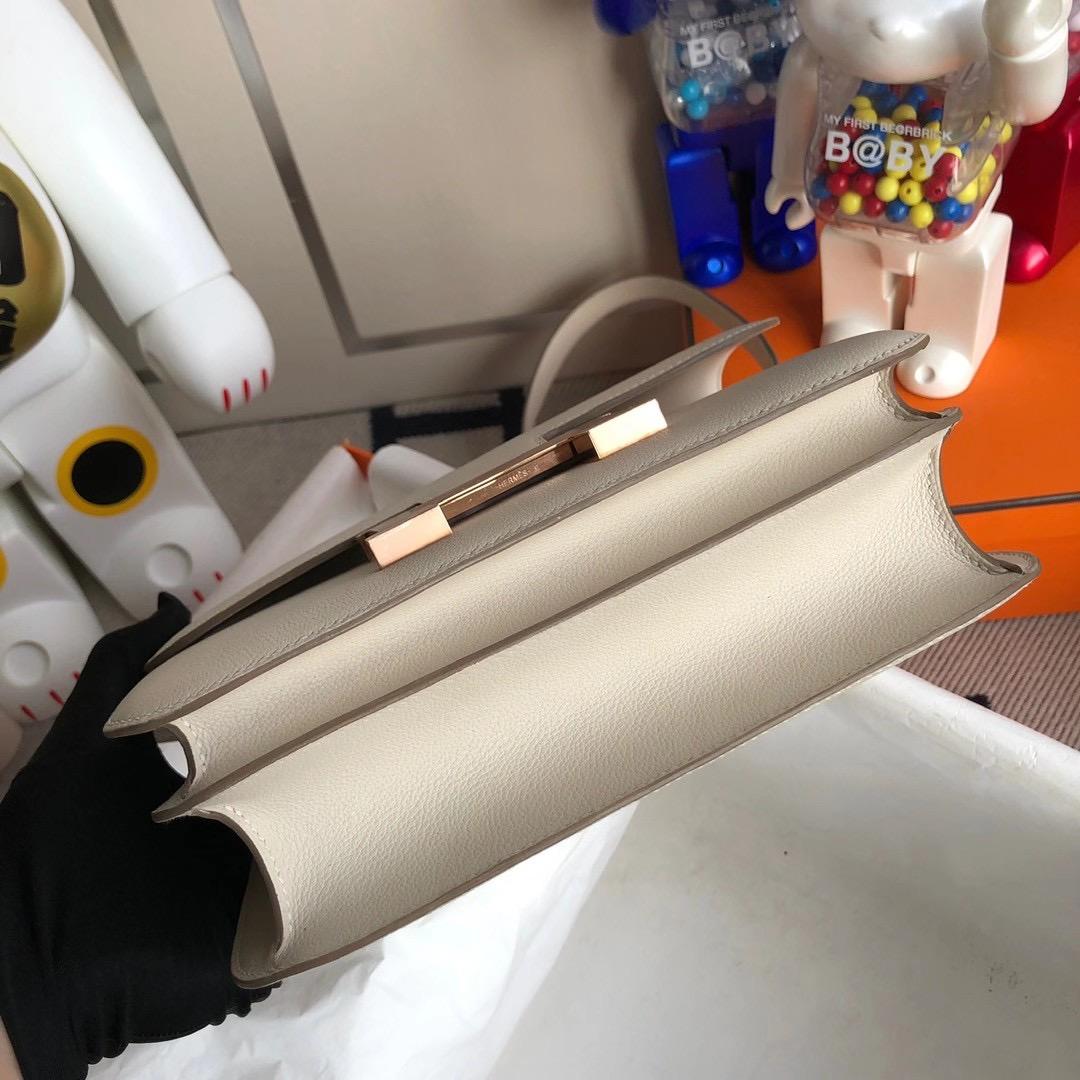 愛馬仕康康空姐包多少錢 USA Hermes Constance 24cm Evercolor 8L Beton 奶油白