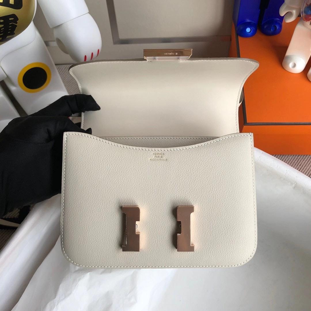 香港深水埗區石硖尾 Hermes Constance Mini Evercolor 8L Beton 奶油白 玫瑰金扣