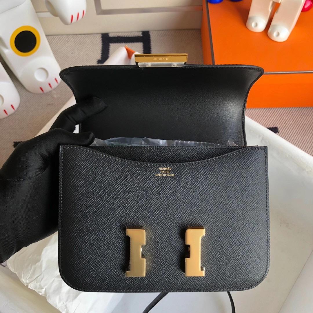 香港灣仔區銅鑼灣 愛馬仕康康空姐包 Hermes Constance Mini Epsom CC89 黑色 Noir