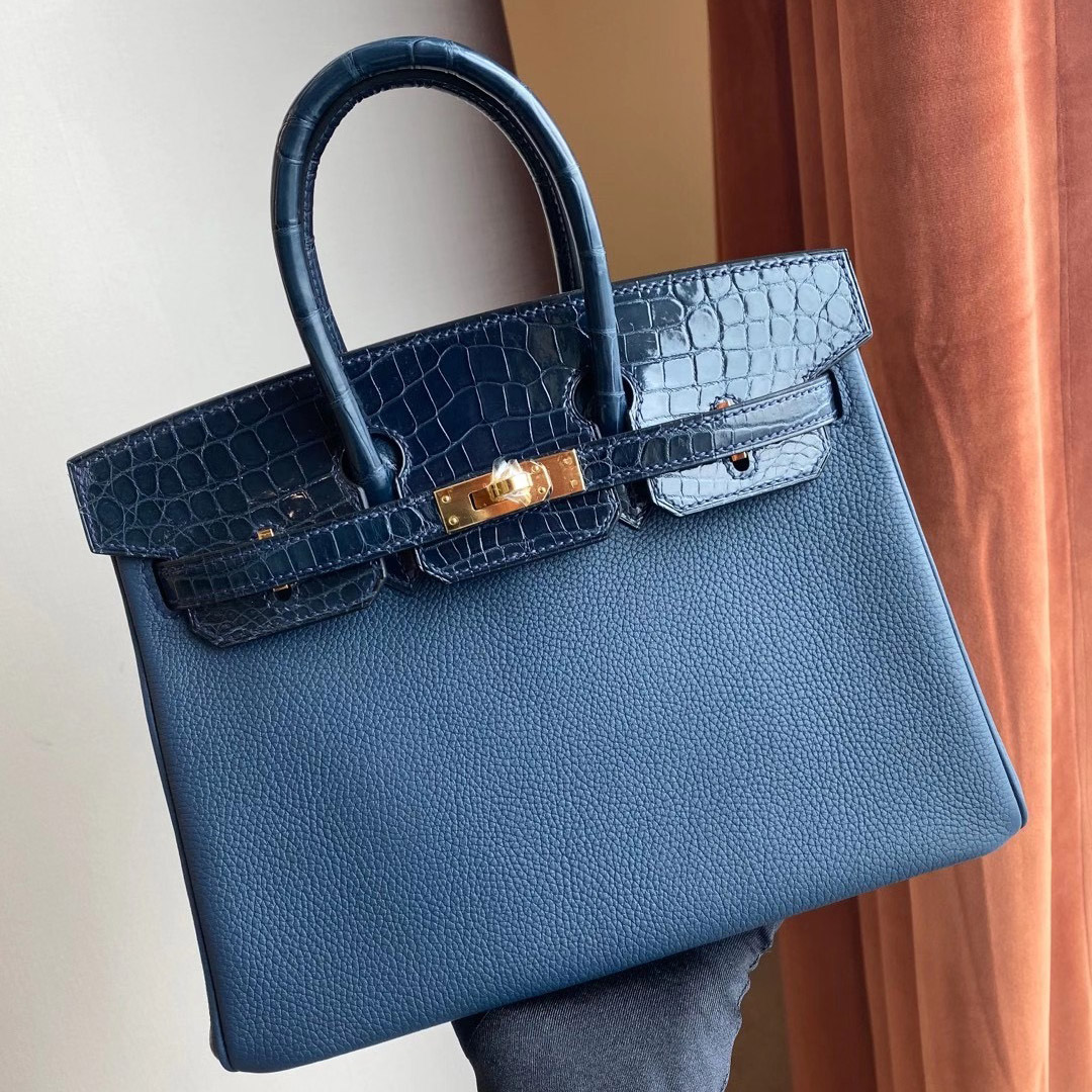 Hermès Birkin 25cm Touch 73 Blue Sapphire 寶石藍 拼 76 深海藍 Blue Indigo
