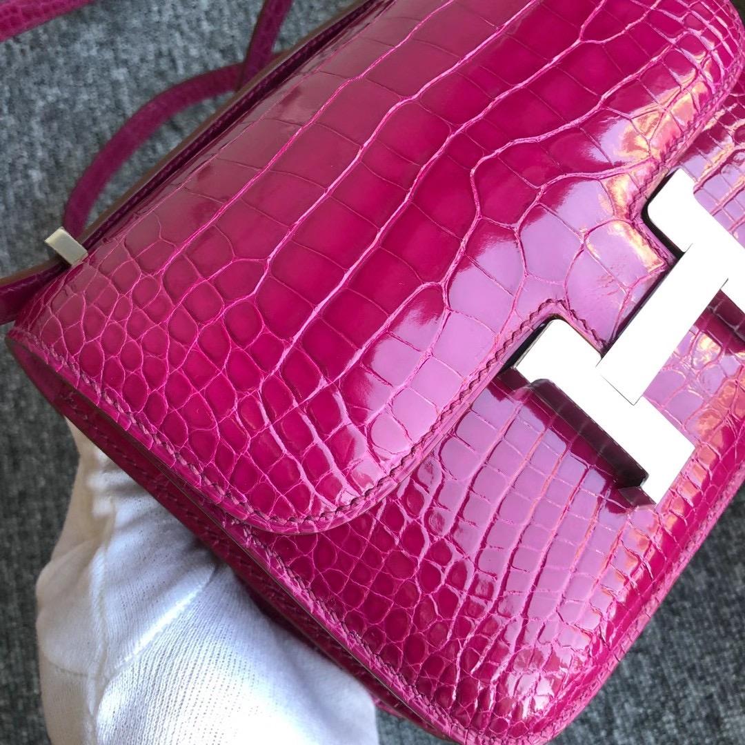 Hermes Constance Mini 19cm J5 Rose sheheraradez 天方夜譚粉紫 亮面方塊 美洲鱷魚