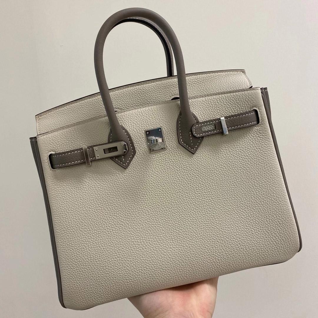 Hong Kong Hermes Birkin 25cm HSS togo 10 Craie 奶昔白 M8 Griss Asphalte 瀝青灰
