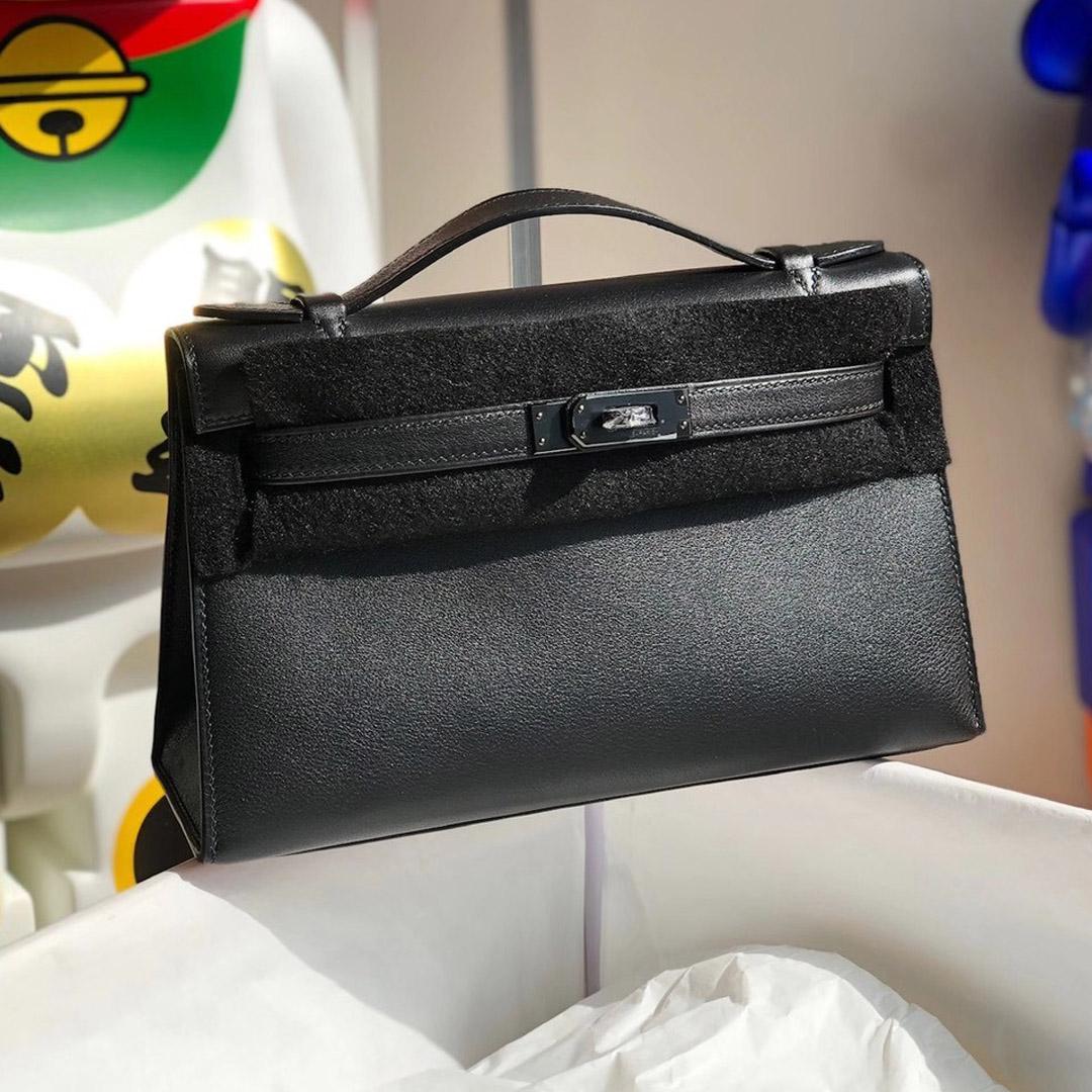 2021年 刻印 Z 刻印 Hermes MiniKelly Pochette Swift 89 Noir 黑色 黑扣